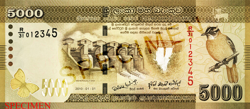 LKR 5000 note - Sri Lanka